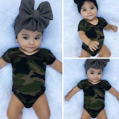 Casual Newborn Baby Girls Camouflage Bodysuit Romper Jumpsuit Outfit Set Clothes
