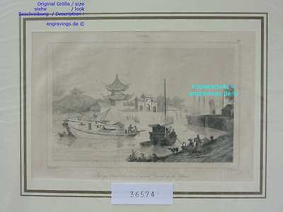 36574-Asien-Asia-China-GRAND CANAL-Chinese Junk--Stahlstich-Steel engraving-1837