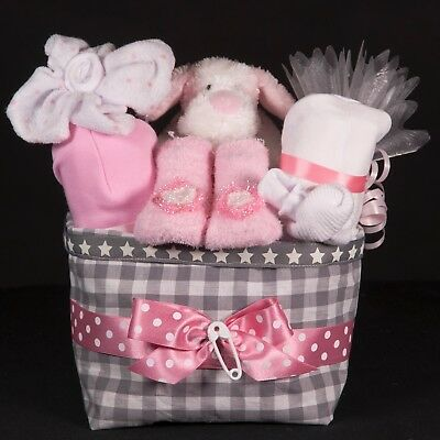 Packed GiftHamper For Baby Girl in Gorgeous Gingham Storage Caddy/Hamper/Basket