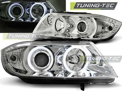 Coppia Fari Anteriori Bmw E90/e91 03.05-08.08 Angel Eyes Chrome Ccfl Look*2276
