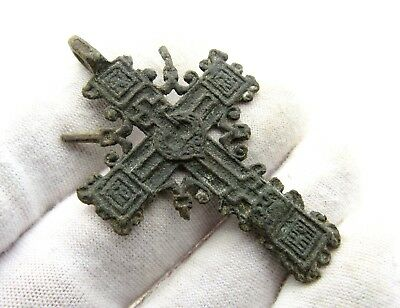 Late Medieval Radiate Bronze Cross Pendant - Superb Artifact Wearable - D95