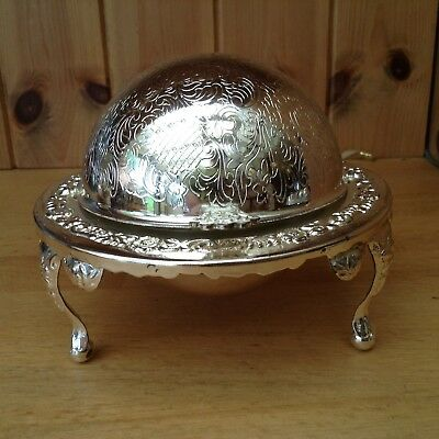 Silver Plated Roll Top Caviar/Butter Dish