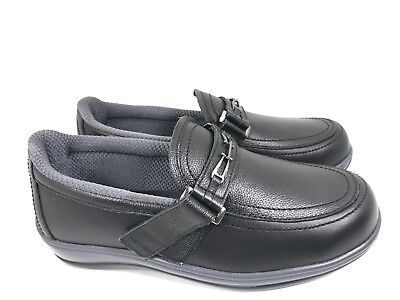 28e11afbf38 ORTHOFEET CHELSEA DIABETIC SHOES BLACK LEATHER Comfort Loafers WOMEN 8D  Wide EUC