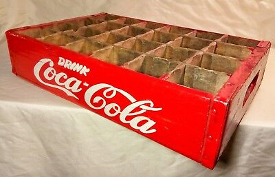 ODDBALL Vintage Red Painted Wood Coca-Cola Bottle Carrying Crate Coke Soda Caddy