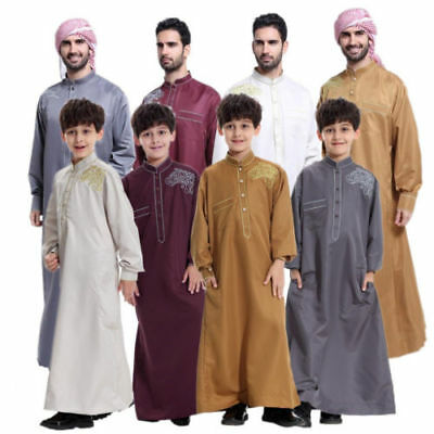 Muslim Men's Kids Boys Jubba Kaftan Dishdash Thobe Arab Clothes Long Robe Jabbah