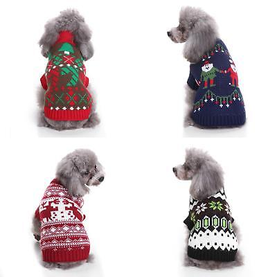 LC_ EG_ HK- Christmas Pet Dog Sweater Puppy Cat Knit Clothes Winter Jumper App