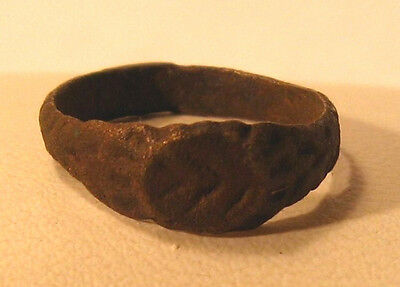 Antique Beautiful Bronze Ring Byzantine or Medieval  #631