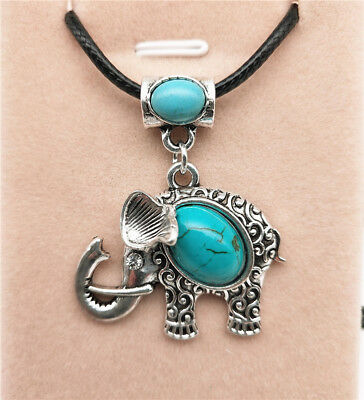 Fashion Jewelry Antique Silver Turquoise Pendant  Rhinestone Necklace Gift L12
