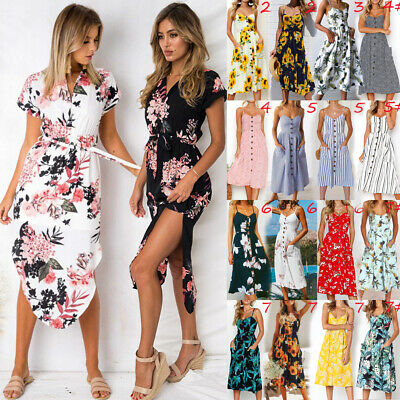 UK Womens Beach Floral Sundress Holiday Ladies Print Party Midi Dresses Summer
