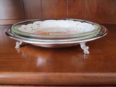REDUCED Vintage Rare WM Rogers Silver Plated Footed Pie Plate Holder w Pyrex & REDUCED VINTAGE RARE WM Rogers Silver Plated Footed Pie Plate Holder ...