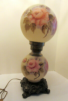 """Large Antique Gone with the Wind Lamp 25"""" 3 Way Jumbo Parlor Lamp ship free"""