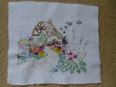 Vintage Embroidery. Picture. Panel. Cottage Garden.