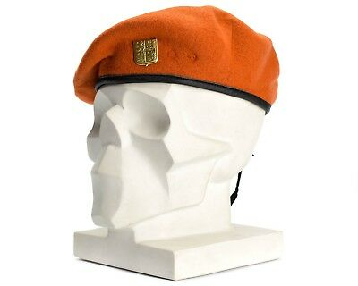 Genuine Czech army orange beret CZ Military issue armed forces cap w badge new