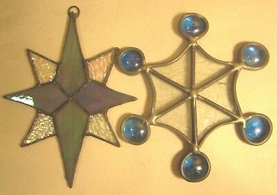 """Vintage Stained Glass Snowflake Sun Catcher Frosty Glass Blue Drops 4.5"""""""