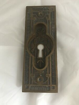 Antique Brass/Bronze Victorian Door Knob Back Plate With Keyhole