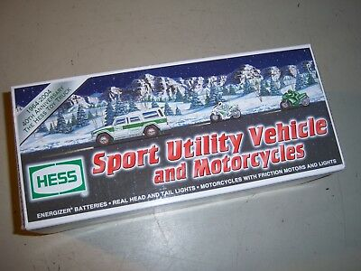 Hess Toy Sport Utility Vehicle and 2 Motorcycles NIB
