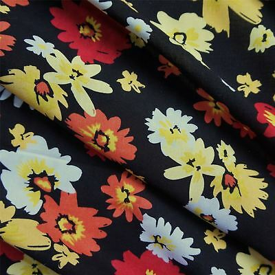 Black 100% Viscose with Yellow, Orange and Red Flowers (Per Metre)