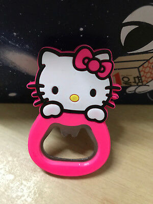 1PC Cute Pink Hello Kitty Bottle Coke Juice Beverages Opener Fridge Magnet
