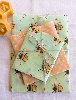Beeswax Eco Food Wraps Set Of 3 Larger Sizes, Handmade in UK, Zero Waste