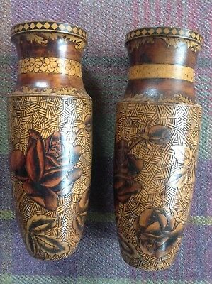 Pair of Mauchline Ware? Circular Pokerwork and Stained Painted Vases