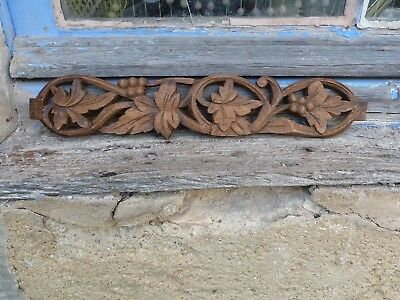 Antique 1900s  French carved wood plates architectural decor /Pediment