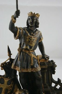 "† Saint Louis Ix King Of France "" Crusade "" Patinated Gilt Bronze France 19Th †"