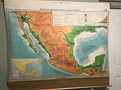 Vintage School Map Of Mexico 1968 (Spanish) Pull Down Geography Map #29