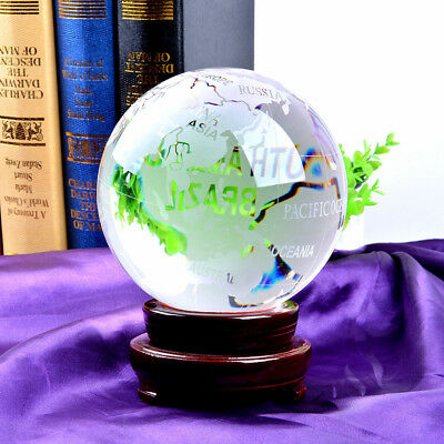Crystal Globe Ball 150mm 6Inch Ornament Home Decor Unique Gift With Wooden Stand