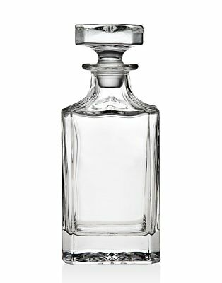 Silver Art Clarion Crystal Whiskey Wine and Liquor Square Decanter with Stopper