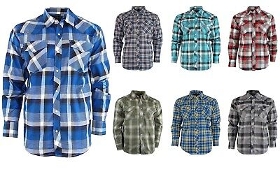 Men's Classic Plaid Short Sleeve Casual Shirt for Men; Western Pearl Snap Front
