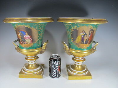 Antique French pair of porcelain urns # 11584