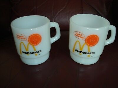 2 Vtg McDonald's Good Morning Fire King Milk Glass Coffee Mugs Stackable Cups