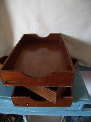 Three Vintage Wooden Desk Trays Tidy Or Great Retail Storage Drawer