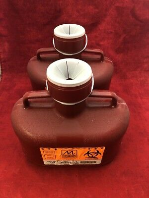 2 NEW MEDICAL ACTION 4.7 Quart Sharps Containers REF 184 Red Biohazard w/Lid