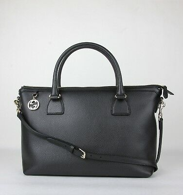 5277895218ee Gucci Black Leather GG Charm Convertible Straight Bag Shoulder Strap 449650  1000