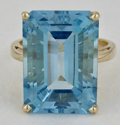 168ba0607 ESTATE 14K YELLOW Gold Natural Blue Topaz Ring 13mm x 18mm Size 7 ...