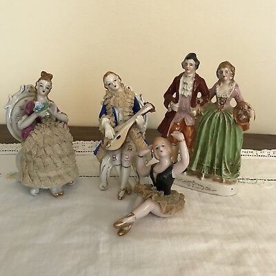 Lot Of 4 Made In Japan Porcelain Victorian Figurines Lace