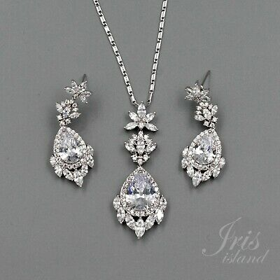 White Gold Plated Zirconia CZ Necklace Earrings Bridal Wedding Jewelry Set 01236