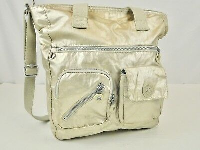 652074b5eb Kipling Tote Bag Shoulder Purse Travel Nylon Hobo Metallic Gold Lots of  Pockets