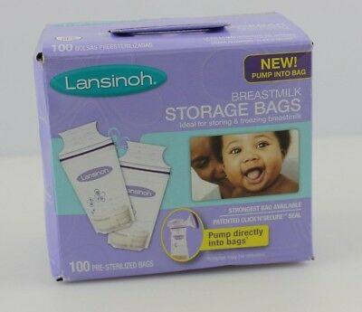 Lansinoh Breastmilk Storage Bags With Convenient Pour Spout 100 Count
