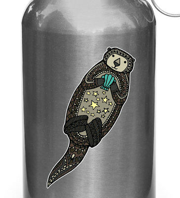 """3/""""W x 2/""""H Penguin Mom /& Baby D1 Water Bottle Decal Sticker ©YYDC BLACK WB"""