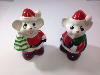 Vintage Santa Mouse Salt & Pepper Shakers Christmas Mice Cute Mice Collectible