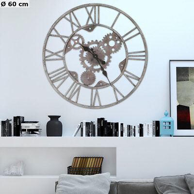 Retro Analogue Wall Clock Roman Numerals Time Display Metal Gearwheel Silver