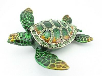 Big Green Sea Turtle Fish Jewelry Trinket Box Decorative Collectible 02099