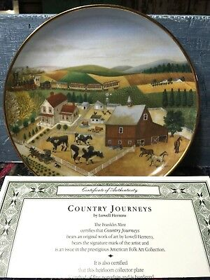 Country Journeys The Franklin Mint Collector Plate Lowell Herrero Folk Art Cow