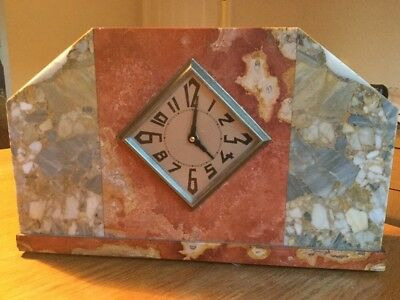 Art Deco Marble Clock Diamond Shaped Face Beautiful Marble/Colours V.Nice Piece!