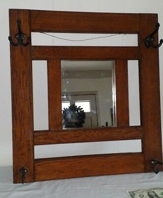 Antique Mission Oak Hanging Arts and Crafts Mirror with Cast Iron Coat Hat Hooks