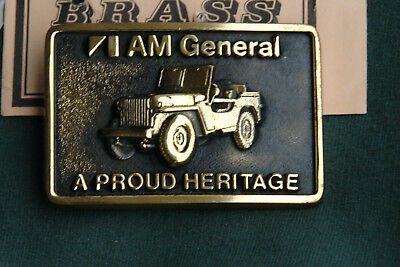 Nos Am General Military Jeep Solid Brass Belt Buckle 1978 Free Shipping!