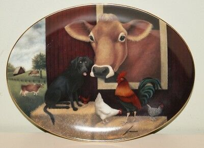 Limited Edition Franklin Mint Heirloom Plate Lowell Herrero Down on the Farm Cow