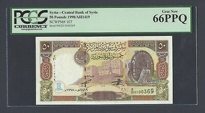 Syria Syrie 50 lira 1998 P107 Uncirculated Grade 66